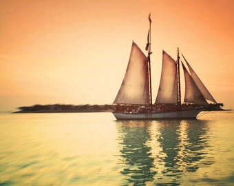 Sailboat Photograph, Sail Away With Me, Sunset, Key West, Nautical, Summer, Sea, Ocean, Peach, Orange, Dreamy, Simple, holiday sale, fPOE