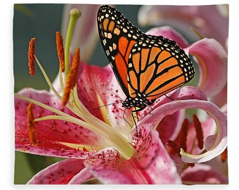Monarch Butterfly and Stargazer Lily, Fleece Blanket, Plush Fleece Blanket, Cozy Blanket, Butterfly Blanket, Floral Photo, Butterfly Photo