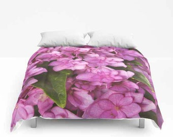 Double Bloom Pink Hydrangea, Comforter, Bedspread, Bedding, Bedroom Decor, Photography, Floral Bedding, Queen Comforter