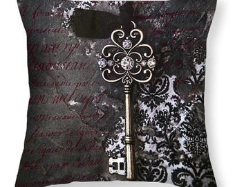 Throw Pillow, The Key, Pillow Cover, Throw Pillows, Skeleton Key Pillow, Indoor Pillow, Indoor Pillow covers, Gift Idea, Pillows, Photo