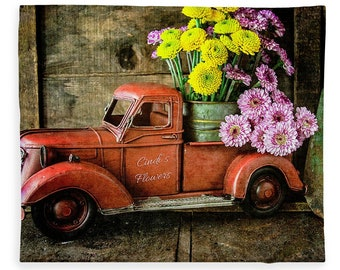 Red Truck, Truck Fleece, Fleece Blanket, Plush Fleece Blanket, Cozy Blanket, Flower Blanket, Camp Decor, Still Life Photography, Gift Idea