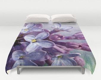 Lilacs Duvet Cover, King Duvet, Queen Duvet, Bed Decor, Garden, Flower, Nature, Flower Photograpy, Photography
