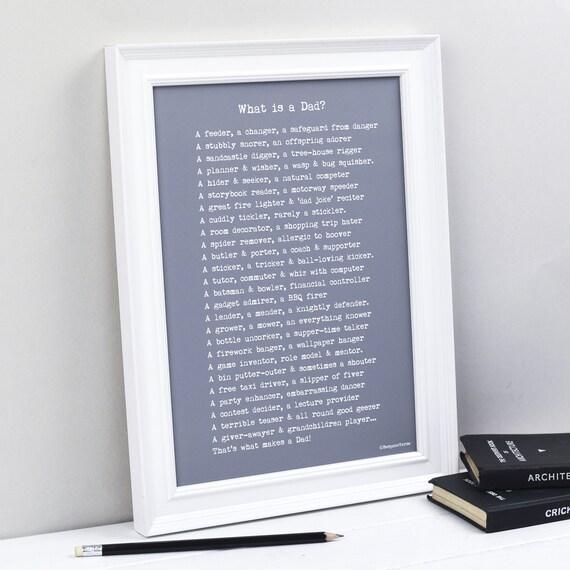 Prezent Dla Taty Co To Jest Tata Wiersz Print Prezent Na Dzień Ojca Spersonalizowany Prezent Print