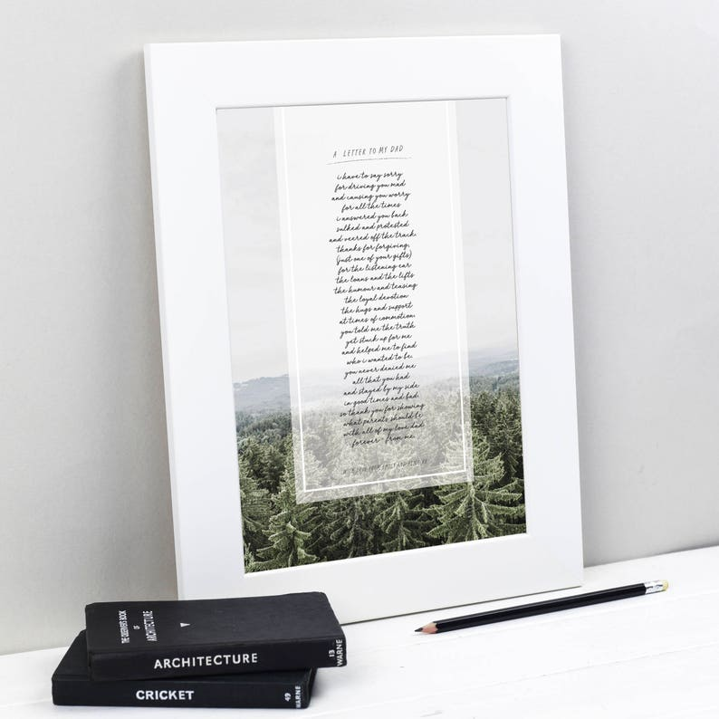 Letter to Dad - Fathers Day Gift - Father of the Bride Gift - Personalised  Gift for Dad - Dad Birthday Gift - Dad Poem - Fathers Day Poem