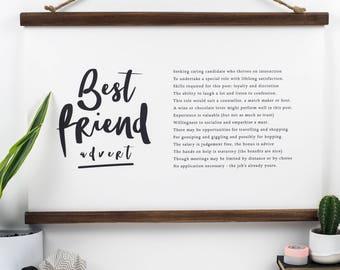 Gift for Friend - Best Friend Advert - Best Friend - Bridesmaid Gift - Friend Poem - Best Friend Gift - Friendship Poem - Personalised Poem