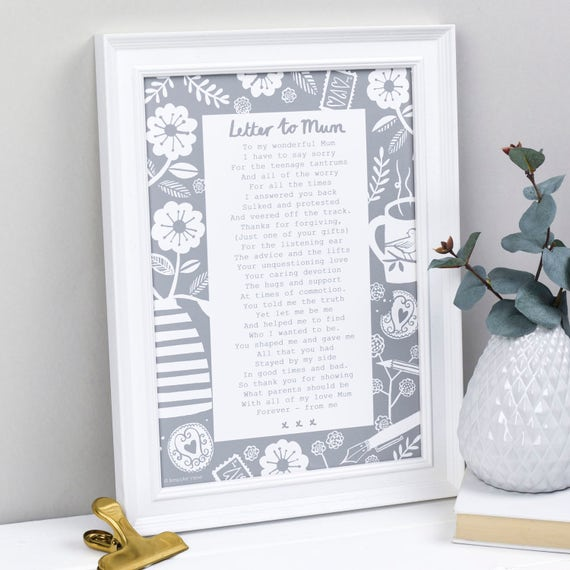 Gift For Mum Mothers Day Poem Letter To
