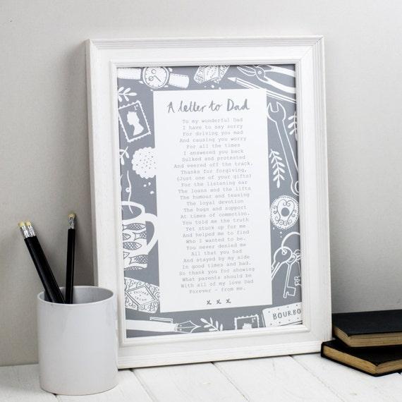 Tata Gift List Do Taty Niestandardowy Wiersz Print Spersonalizowany Prezent Dzień Ojców Prezent