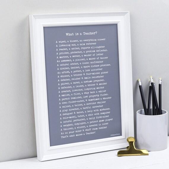 Nauczyciel Prezent Co To Jest Nauczyciel Wiersz Wydruku Drukowanie Niestandardowe Poemat Spersonalizowany Prezent