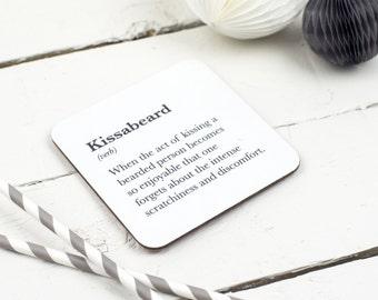 Funny Coaster - Kissabeard Coaster - Beard gift - Gift For Beard Wearer - Facial hair