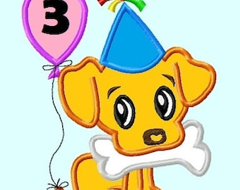 Birthday Puppy  APPLIQUE Embroidery Designs 3 sizes INSTANT Download