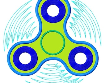Hand Spinner APPLIQUE Embroidery Design 3 sizes INSTANT DOWNLOAD
