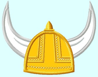 Viking Helmet  Applique Embroidery Design,  3 sizes (Great for  hooded towels and blankets)  INSTANT DOWNLOAD