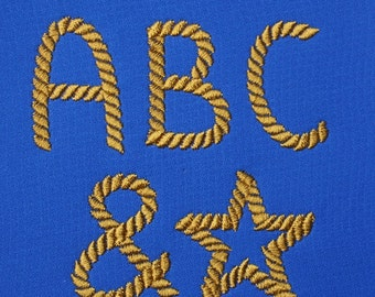 Rope Font Set in 3 sizes  Embroidery Designs   INSTANT DOWNLOAD  Includes BX files Plus Bonus Symbols