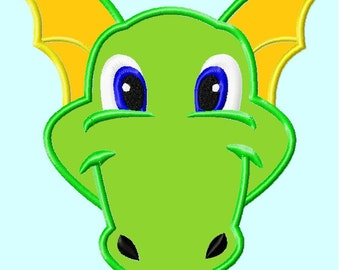 Green Dragon or Dinosaur Head APPLIQUE Embroidery Designs 4 sizes INSTANT DOWNLOAD