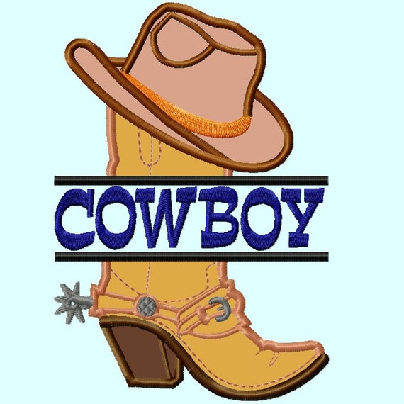 108711aa83c Split Cowboy Hat on Boot Applique Embroidery Design Pattern