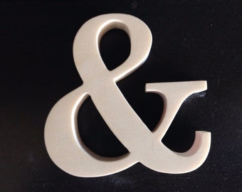 Wood Ampersand, up to 12 inches tall, Unfinished