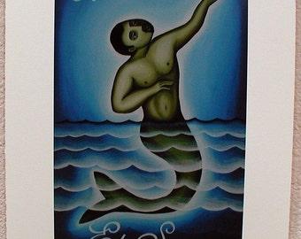 El Sireno, The Merman, Loteria Art Print