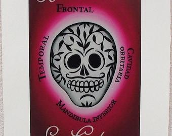 La Calavera, The Skull, Loteria Art Print, Dia De Los Muertos