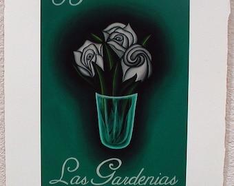 Las Gardenias, The Gardenias, Loteria Art Print