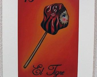 El Tigre, The Tiger, Loteria Art Print