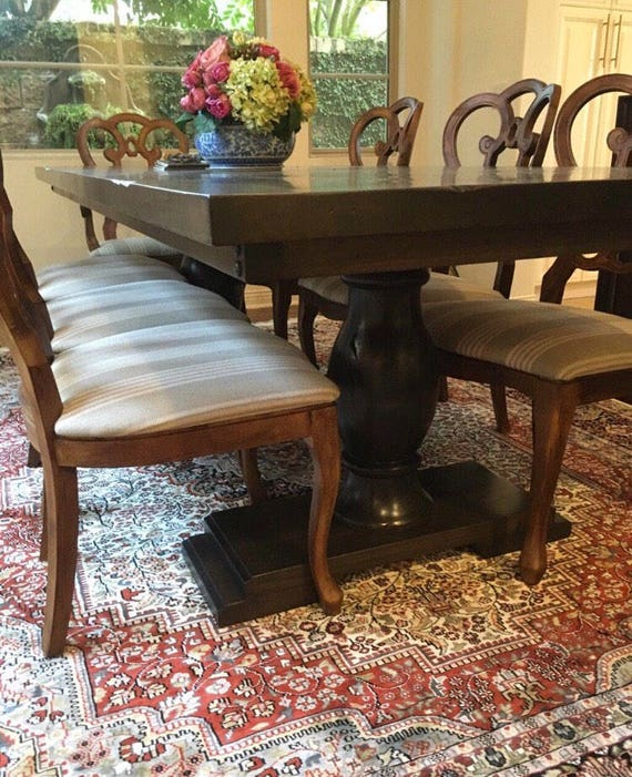 Double Pedestal Style Trestle Dining Table Fully Customizable Etsy - Double trestle dining table