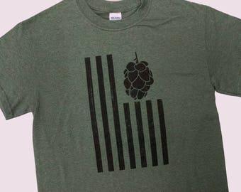 United Hops of America Flag Mens T-shirt, Funny Beer T-shirt, Beer Humor, Favorite Beer Shirt, Drinking Shirt, Fun Gift T-shirt, Beer Shirt