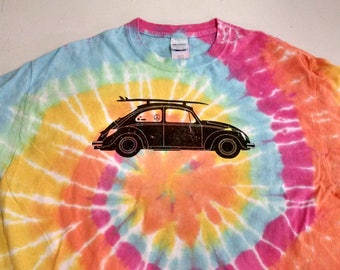 Summer of Love Bug Tie Dye- Unisex Style T-shirt, Hippie T-shirt, Psychedelic T-shirt, Beach T-shirt, Surfing Bug, Surf Board, Peace Sign