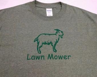 Lawn Mower (The Goat) Screen Printed Design- Men's style T-shirt, Green Humor, Environmental Humor, Natural Weed Control, Camping Shirt