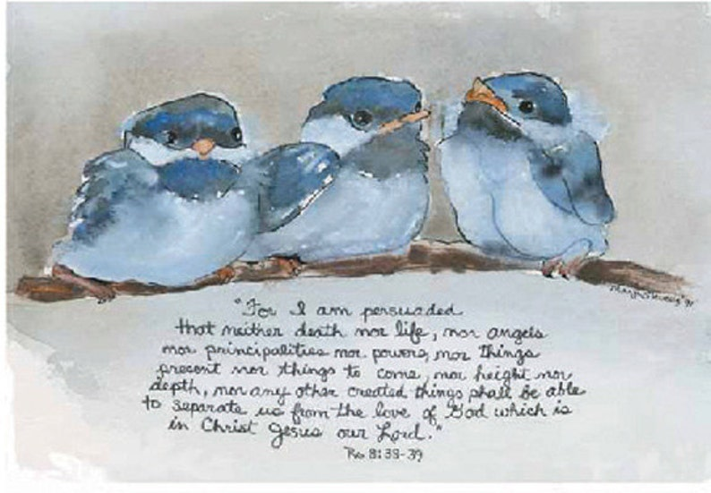Watercolor Print  Bluebirds on a branch  by Marji Stevens image 0