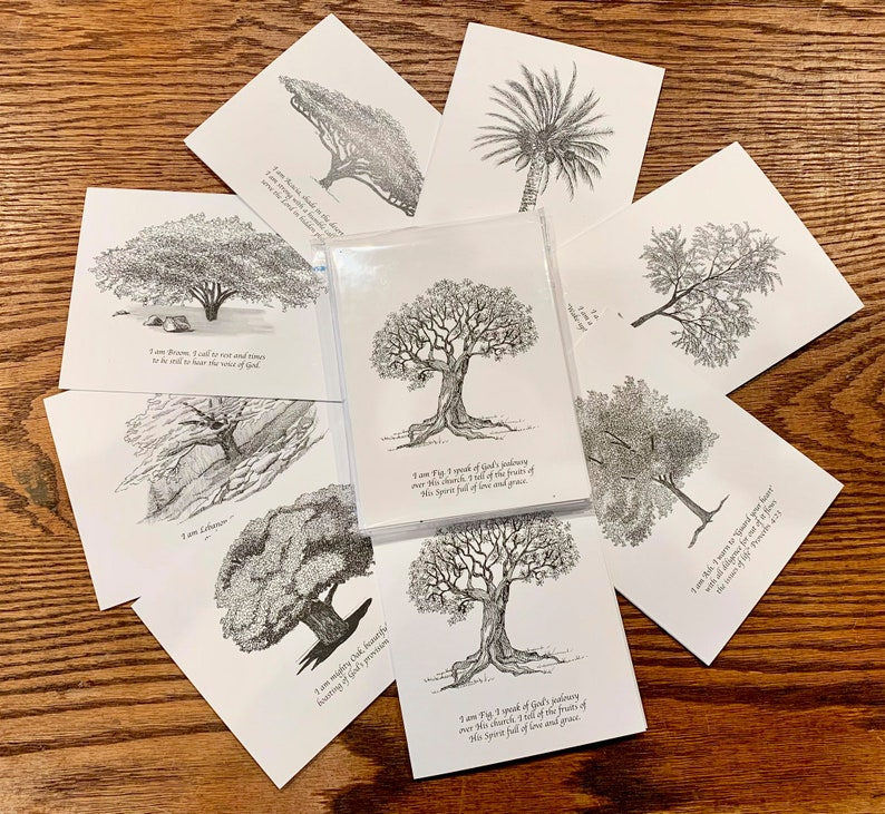 Pen and Ink Tree Notecards with envelopes by Marji Stevens image 0