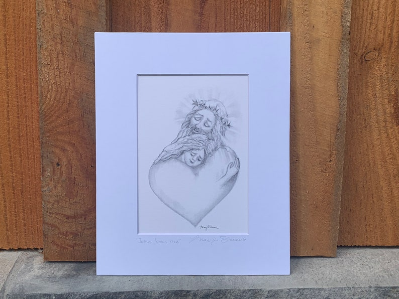 Jesus with Girl Matted Pencil Sketch Print by Marji Stevens image 0