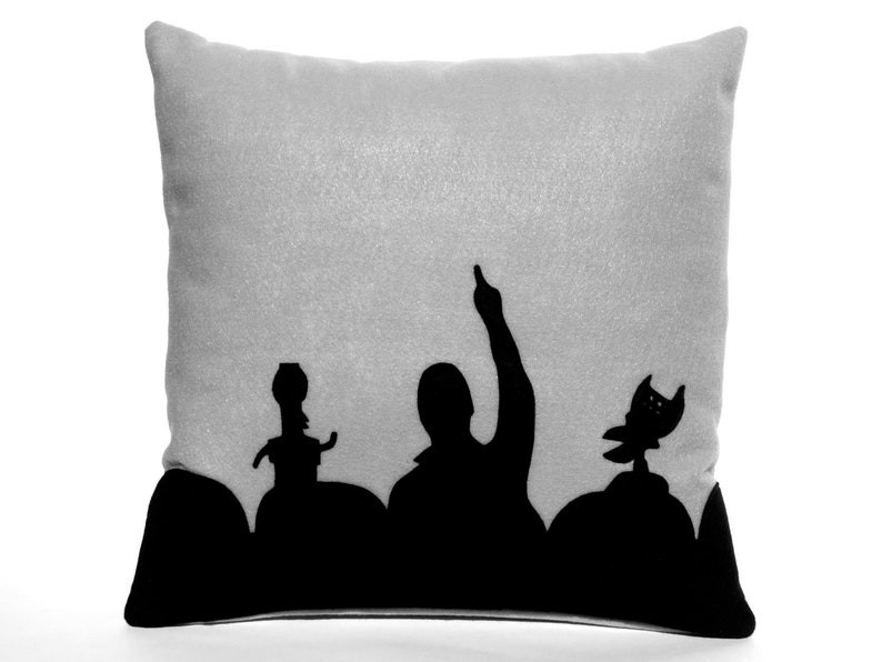 MST3K Appliqued Eco Felt Pillow Cover in Black and Silver  image 0