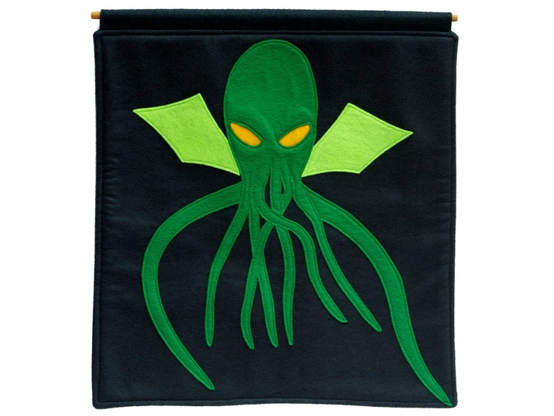 Cthulhu Appliqued Eco Felt  Wall Hanging in Deep Navy and image 0