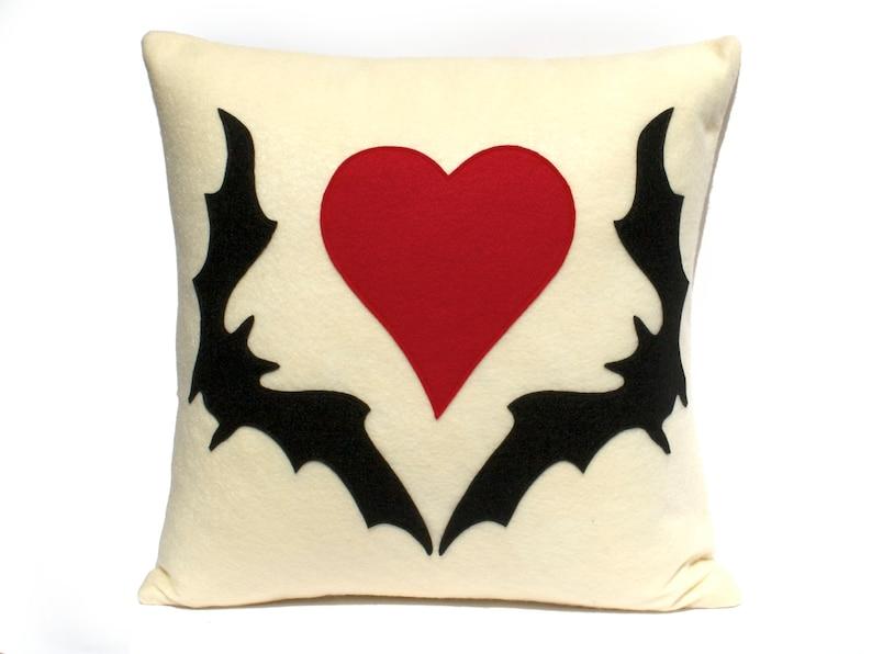 Bat Love Appliqued Eco-Felt Pillow Cover in Antique White image 0