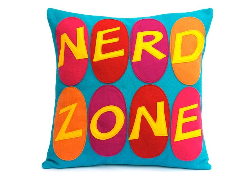 Nerd Zone Appliqued Eco-Felt Pillow Cover in gold orange image 0