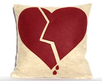 Broken Heart- Appliqued Eco-Felt Pillow Cover in Stone, and Ruby - 18 inches In Stock and Ready to Ship