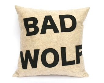 Bad Wolf- Appliqued Eco-Felt Pillow Cover in Stone and Black - 18 inches In Stock and Ready to Ship