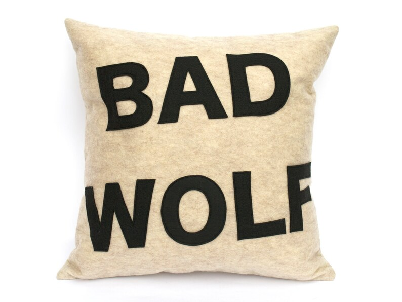 Bad Wolf Appliqued Eco-Felt Pillow Cover in Stone and Black  image 0