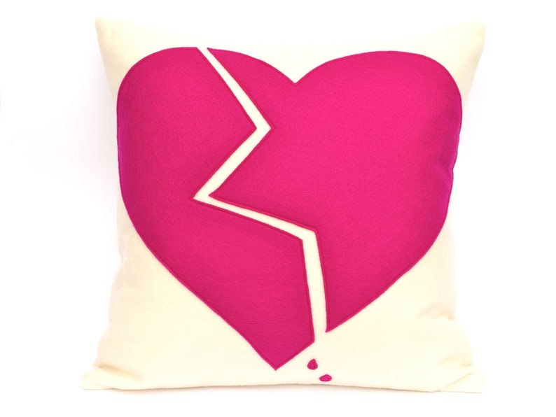 Broken Heart Appliqued Eco-Felt Pillow Cover in Cream and image 0