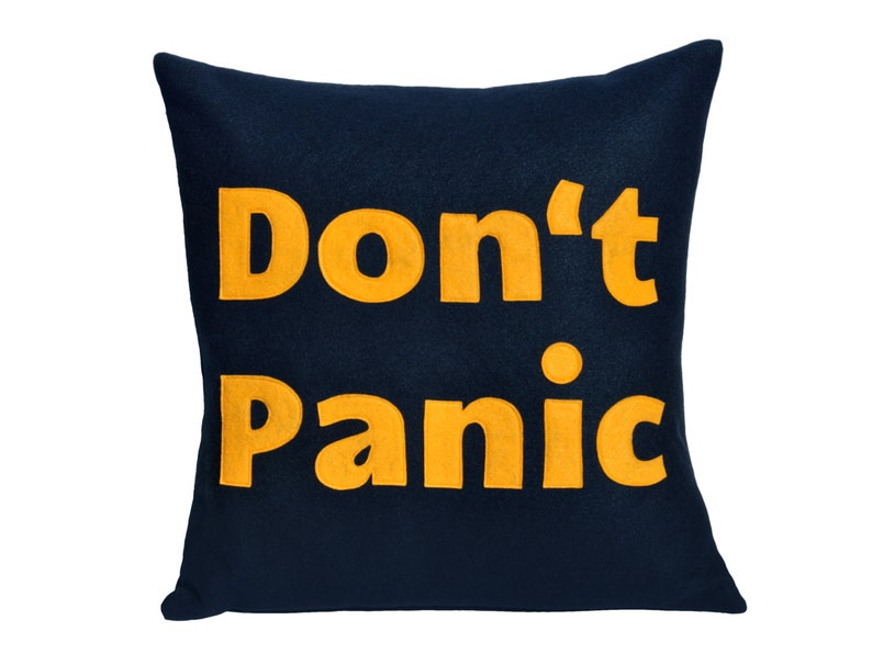 Don't Panic Pillow Cover  Appliquéd Navy Blue and Gold image 0