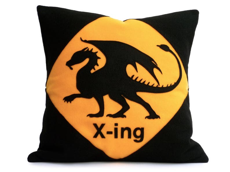 Dragon Crossing Appliquéd Eco Felt Pillow Cover in Black and image 0