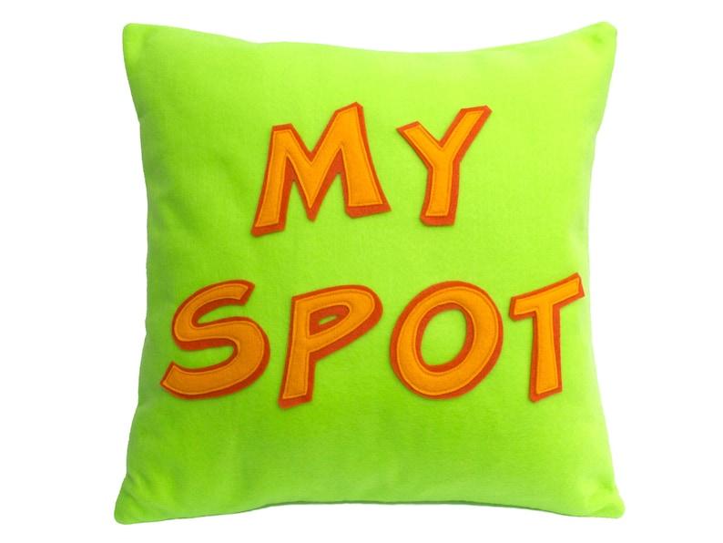 My Spot Appliquéd Eco-Felt Pillow Cover 18 inches Nerd Gift image 0