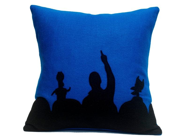 MST3K Appliqued Eco Felt Pillow Cover in Black and Blue  18 image 0