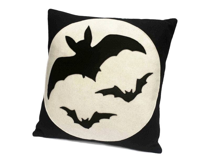 Bats Eco Felt Throw Pillow Cover 18 inches In Stock and Ready image 0