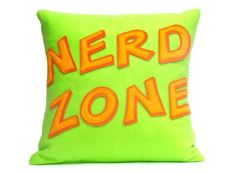 Nerd Zone Appliqued Eco-Felt Pillow Cover in Neon Green image 0