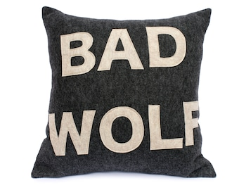 Bad Wolf- Doctor Who inspired Pillow Cover in Charcoal Grey and Stone - 18 inches In Stock and Ready to Ship