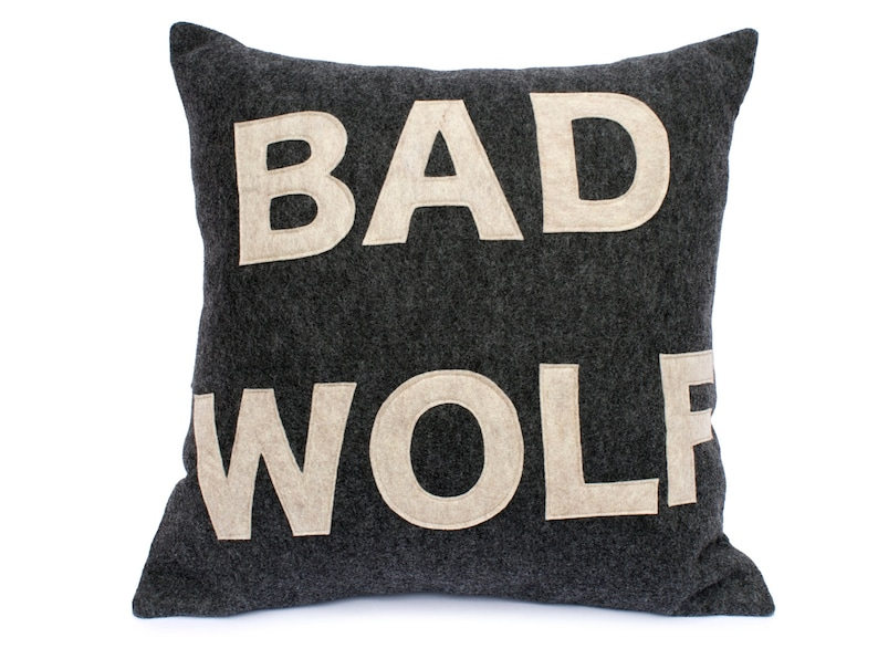 Bad Wolf Doctor Who inspired Pillow Cover in Charcoal Grey image 0