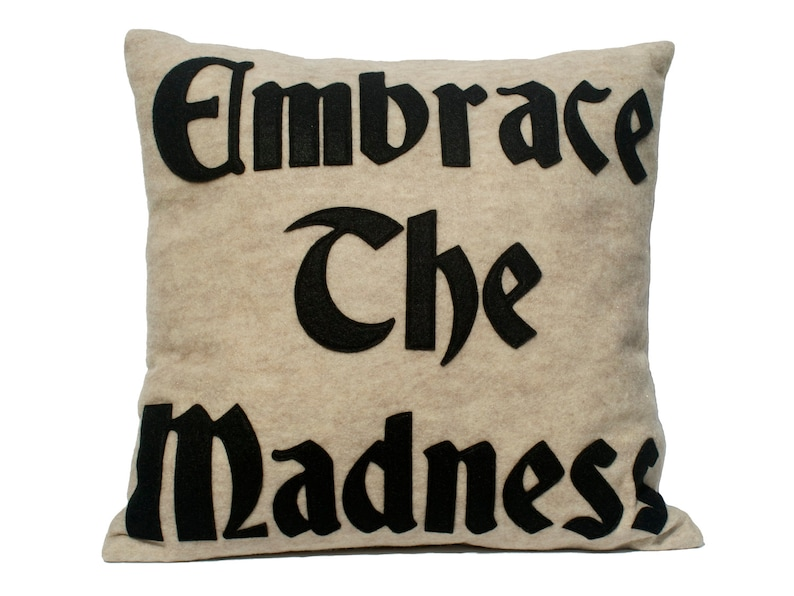 Embrace the Madness Appliqued Eco Felt Pillow Cover in Stone image 0