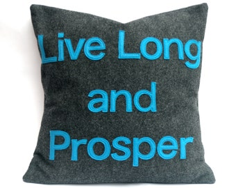 Live Long and Prosper- Star Trek Pillow Cover in Charcoal Gray and Science Blue Eco Felt- 18 inches In Stock and Ready to Ship