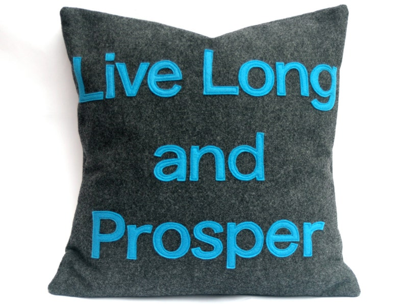Live Long and Prosper Star Trek Pillow Cover in Charcoal Gray image 0